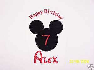 1st BIRTHDAY MICKEY MOUSE SHIRT DISNEY FONT APPLIQUE