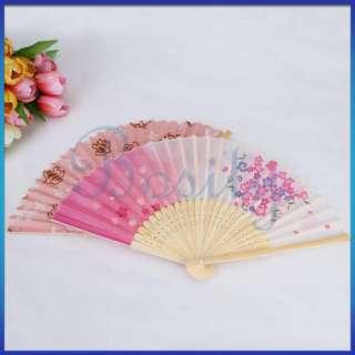 Hand Held Folding Handheld Fan Favor Flower Chinese Bamboo Fan