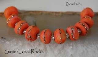 BF* Satin Coral Rocks * Handmade Lampwork Beads 10 SRA