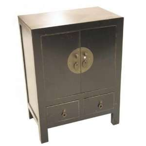 Oriental Style Small Wooden End Table / Night Stand