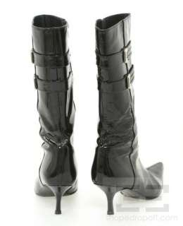Black Patent Leather Silver Buckle Mid Calf Boots Size 7.5M