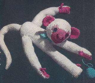 Vintage Crochet PATTERN Monkey Soft Toy Stuffed Animal