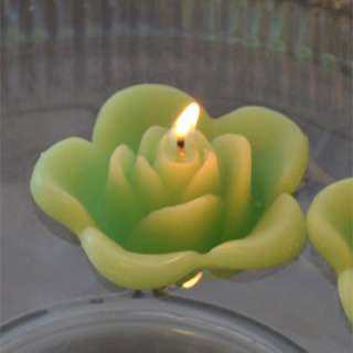 12 Lime Green floating rose candles wedding party
