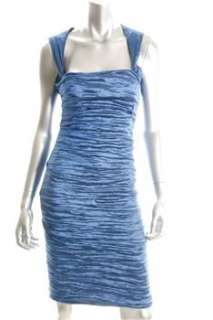 Nicole Miller NEW Blue Clubwear Dress BHFO Ruched 10
