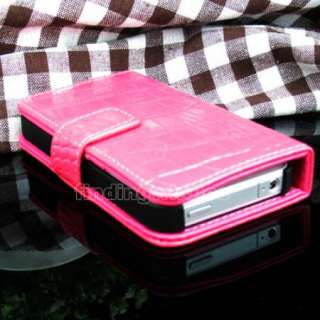 HOT PINK WALLET FLIP LEATHER CASE CROCO POUCH COVER PROTECTOR FOR
