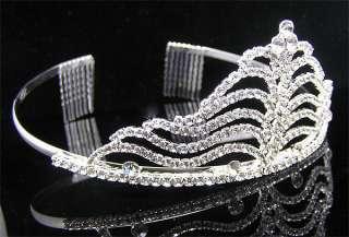 Wedding/Bridal crystal veil tiara crown headband CR178