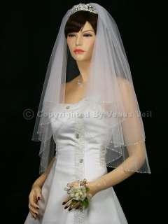 2T White Wedding Bridal Elbow Beaded Edge Tiara Veil