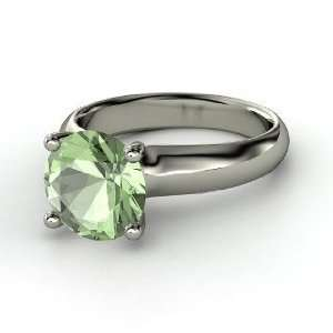 Bardot Ring, Round Green Amethyst Sterling Silver Ring Jewelry