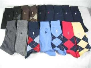Pair Mens Polo Ralph Lauren Pony Dress Socks Black, Navy, Blue