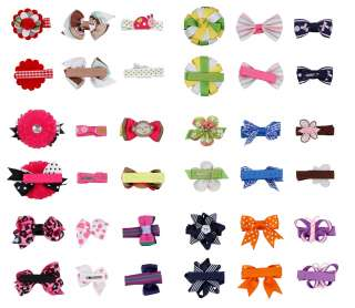 Bundle Monster 18pc Girl Baby Toddler Ribbon Bows Flowers Mixed Design