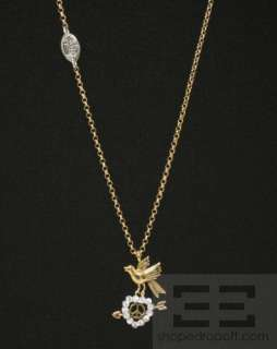 Couture Gold Chain Jeweled Heart & Bird Pendant Necklace NEW