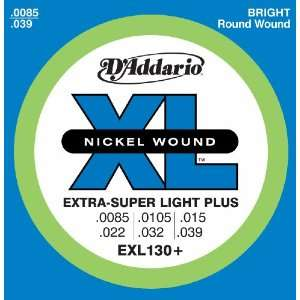 Guitar Strings, Extra Super Light Plus, 8.5 39 Musical Instruments
