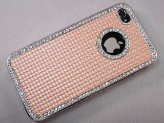 Pearl Pink Luxury Rhinestone Diamond Bling Back Case Cover for iPhone