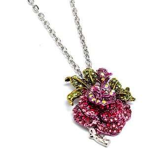 Rose Flower Charm Pendant 24 Inch Long Necklace Fashion Jewelry