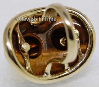 Ladies 14K Yellow Gold Tiger Eye Ring Size 5