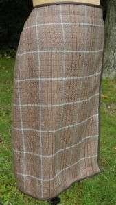 EUC Banana Republic Brown Blue Plaid Faux Wrap Leather Trim Wool Skirt