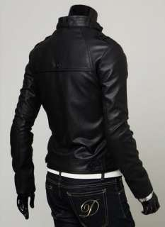 NWT Mens Slim Top Designed Sexy PU Leather Short Jacket E400 2color 4