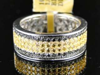 10K MENS WOMENS WHITE GOLD BLACK/YELLOW DIAMOND ENGAGEMENT WEDDING