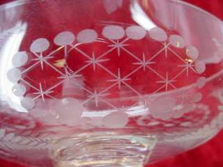 Antique Etched Crystal CHAMPAGNE GLASS (Turn it over) Rose Flower Vase