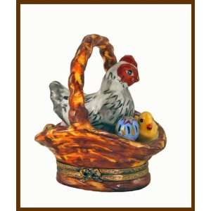 Chicken, Chick & Egg in Basket French Limoges Box