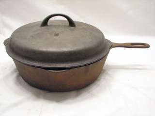 VINTAGE CAST IRON CHICKEN FRYING PAN SKILLET #8 W/ LID KITCHEN TOOL