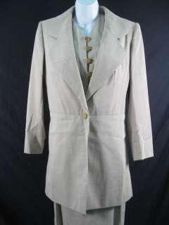 DESIGNER Gray Tan 3Pc Blazer Shirt Skirt Suit Outfit 42