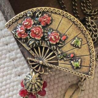 Necklace Xmas Gift FS Vintage Gold Tone Enamel Flower Fan Chain