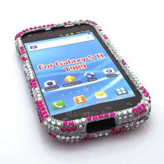Diamond Pink Zebra Bling Hard Case Cover Samsung Galaxy S2 T989 T