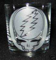 Grateful Dead Skull Logo Etched Glass 4 Rocks Glasses