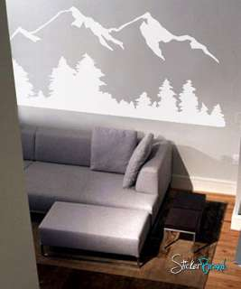 Vinyl Wall Decal Sticker Snow Mountain view w/ Trees