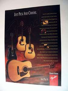 Fender DG Series Acoustic Guitars 1996 print Ad
