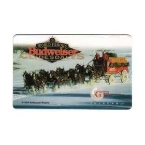 Collectible Phone Card Budweiser Clydesdale Horses Pulling Wagon In