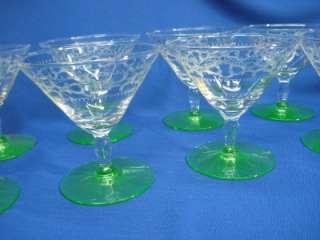 ELEGANT GREEN BASE CLEAR ETCHED BOWL DEPRESSION SHERBET / WINE GLASSES