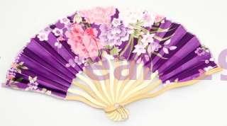 HAND MADE Purple CURVE RIBS SILK BAMBOO FAN VEIL