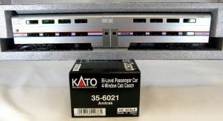 HO Scale Bi Level 4 Window Cab Coach Car   Amtrak Phase III   Kato 35