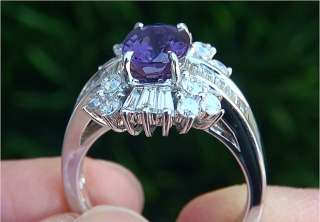 GIA Certified 4.21 ct Natural Purple Sapphire Diamond Engagement Ring