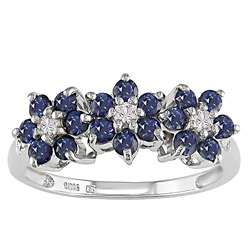 10k White Gold Blue Sapphire Flower Ring
