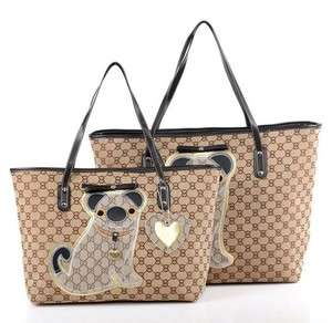 Ladies Canvas Large Handbag Purse Bag Satchel Shopping Tote Puppy Dog