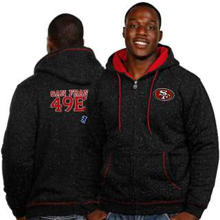 Pro Line San Francisco 49ers Black Fleck Full Zip Hoodie Sweatshirt