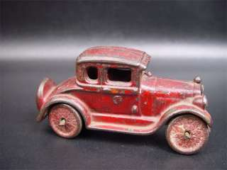 Unmarked Antique Cast Iron Red Coupe Toy Car 5 1/4