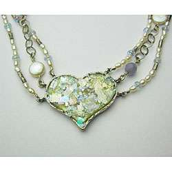 Ancient Roman Glass Heart Necklace (Israel)