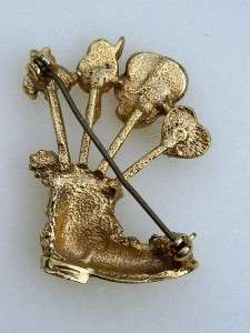 Vintage Gold Tone Stick Pin Boot Pin Cushion Brooch