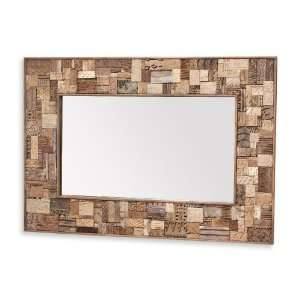 Rhen Reclaimed Wood Block Batik Stamp Rectangle Mirror