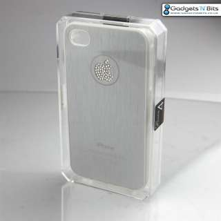 SILVER METAL Apple iPhone 4S 4 Case Cover with BLING Apple Logo