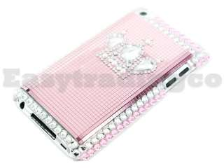 Crystal Bling Case Cover iPod Touch 4 4G Pink Crown