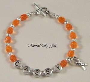 LEUKEMIA Awareness PERSONALIZED Name Bracelet w/ Charm