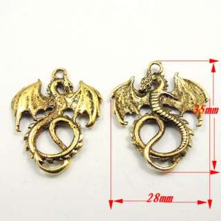 35*28mm Antique style gold tone flying dragon shaped alloy charm