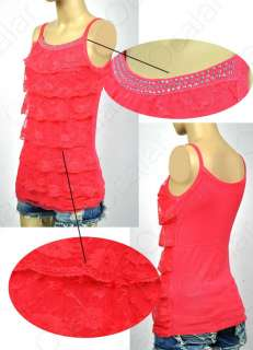 Sweet Girls Women Lace Halter Mini Shirt Tiered Top Blouse Sleeveless