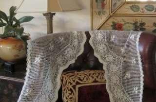Beautiful original PAIR of Vintage style Cotton LACE CURTAIN PANELS