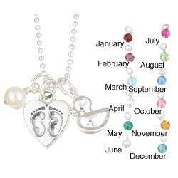 Charming Life Baby Duck/ Silver Heart Birthstone Charm Necklace